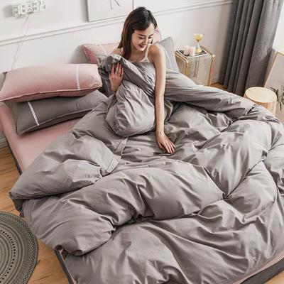 2020新款-全棉水洗棉纯色系列单品被套 200X230cm 简约灰