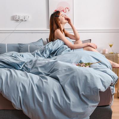 2020新款-全棉水洗棉纯色系列单品被套 200X230cm 简约蓝