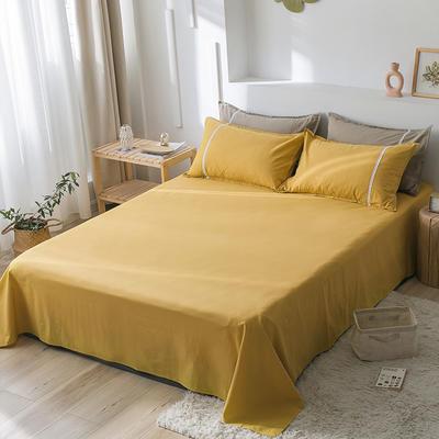 2020新款-全棉水洗棉纯色系列单品床单 180cmx230cm 简约黄