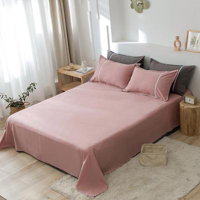 2020新款-全棉水洗棉纯色系列单品床单 180cmx230cm 简约粉