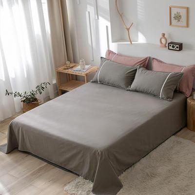 2020新款-全棉水洗棉纯色系列单品床单 180cmx230cm 简约灰