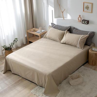 2020新款-全棉水洗棉纯色系列单品床单 180cmx230cm 简约咖