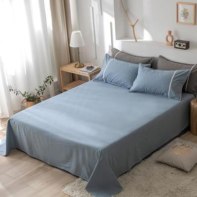 2020新款-全棉水洗棉纯色系列单品床单 180cmx230cm 简约蓝