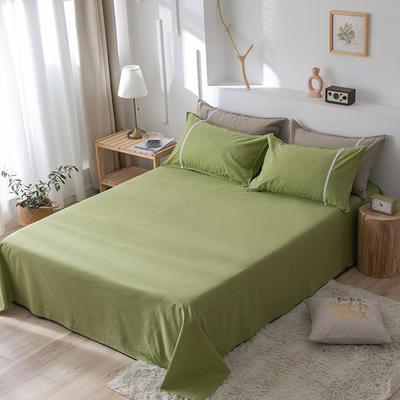 2020新款-全棉水洗棉纯色系列单品床单 180cmx230cm 简约绿