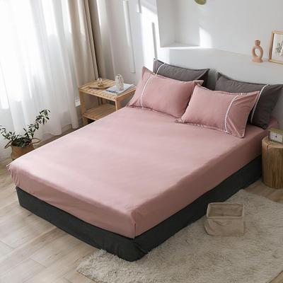 2020新款-全棉水洗棉纯色系列单品床笠 150cmx200cm 简约粉