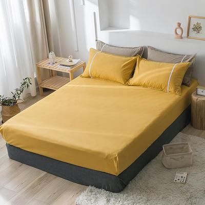 2020新款-全棉水洗棉纯色系列单品床笠 150cmx200cm 简约黄