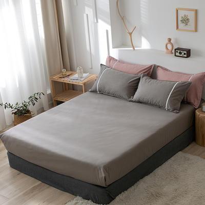 2020新款-全棉水洗棉纯色系列单品床笠 150cmx200cm 简约灰