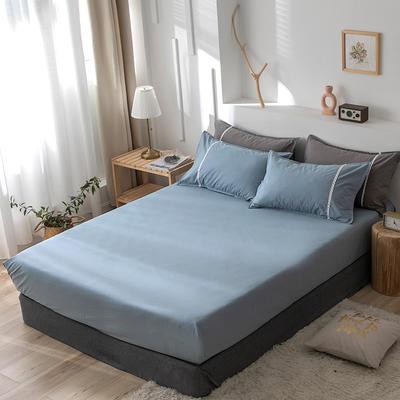 2020新款-全棉水洗棉纯色系列单品床笠 150cmx200cm 简约蓝
