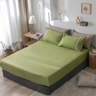 2020新款-全棉水洗棉纯色系列单品床笠 150cmx200cm 简约绿