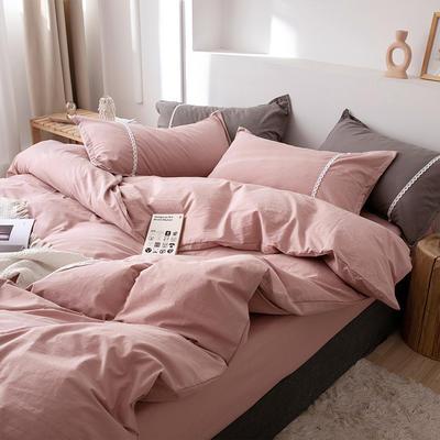 新款良品日式简约全棉色织水洗棉纯棉被套床单四件套纯色系列 床单款四件套1.5m(5英尺)床 简约粉
