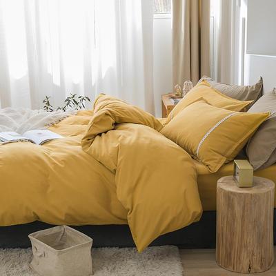 新款良品日式简约全棉色织水洗棉纯棉被套床单四件套纯色系列 床单款四件套1.5m(5英尺)床 简约黄