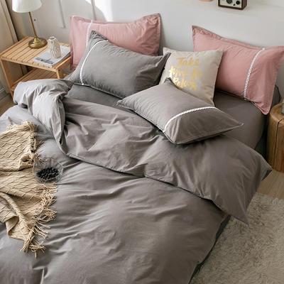 新款良品日式简约全棉色织水洗棉纯棉被套床单四件套纯色系列 床单款四件套1.5m(5英尺)床 简约灰