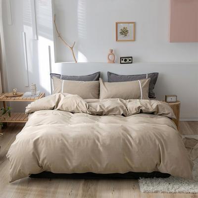 新款良品日式简约全棉色织水洗棉纯棉被套床单四件套纯色系列 床单款四件套1.5m(5英尺)床 简约咖