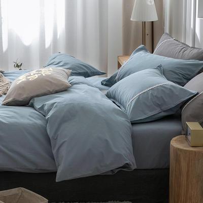 新款良品日式简约全棉色织水洗棉纯棉被套床单四件套纯色系列 床单款四件套1.5m(5英尺)床 简约蓝