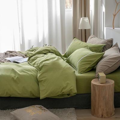 新款良品日式简约全棉色织水洗棉纯棉被套床单四件套纯色系列 床单款四件套1.5m(5英尺)床 简约绿