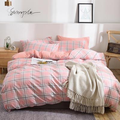 新款良品日式简约全棉色织水洗棉条纹格子纯棉被套床单四件套 床单款1.5m(5英尺)床 巴厘粉玉