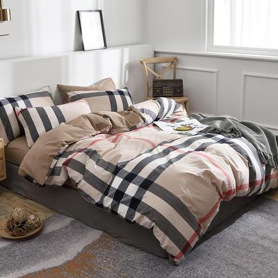 新款良品日式简约全棉色织水洗棉条纹格子纯棉被套床单四件套 床单款1.5m(5英尺)床 宝丽大格