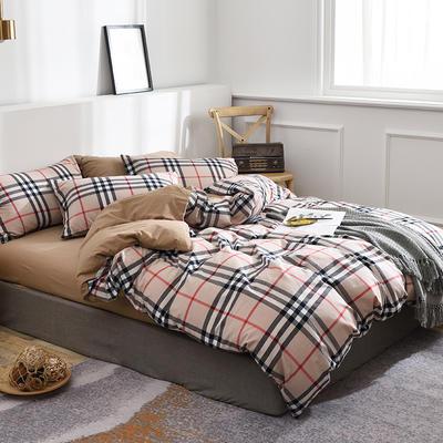 新款良品日式简约全棉色织水洗棉条纹格子纯棉被套床单四件套 床单款1.5m(5英尺)床 宝丽小格