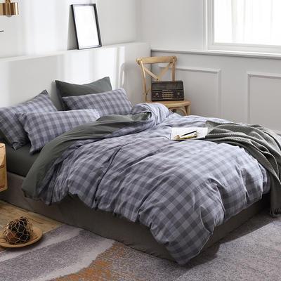 新款良品日式简约全棉色织水洗棉条纹格子纯棉被套床单四件套 床单款1.5m(5英尺)床 初雨灰