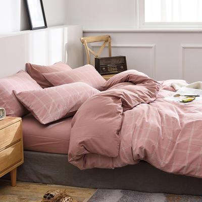 新款良品日式简约全棉色织水洗棉条纹格子纯棉被套床单四件套 床单款1.5m(5英尺)床 大布丁粉格