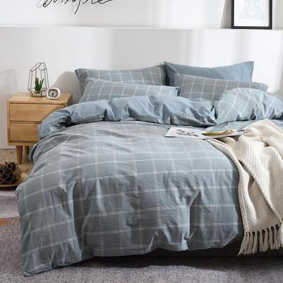 新款良品日式简约全棉色织水洗棉条纹格子纯棉被套床单四件套 床单款1.5m(5英尺)床 大布丁蓝格