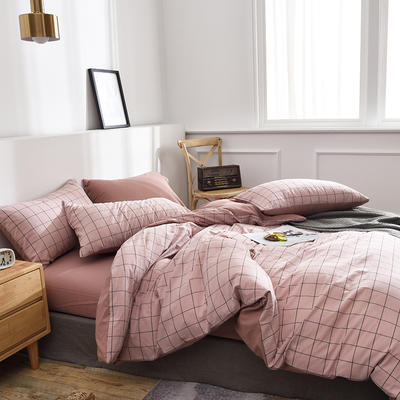 新款良品日式简约全棉色织水洗棉条纹格子纯棉被套床单四件套 床单款1.5m(5英尺)床 冬日夏云粉