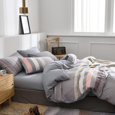 新款良品日式简约全棉色织水洗棉条纹格子纯棉被套床单四件套 床单款1.5m(5英尺)床 花月灰