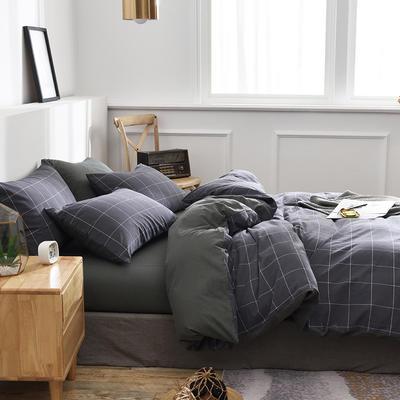 新款良品日式简约全棉色织水洗棉条纹格子纯棉被套床单四件套 床单款1.5m(5英尺)床 华尔兹瓦灰