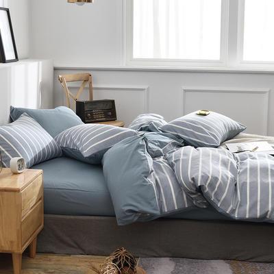 新款良品日式简约全棉色织水洗棉条纹格子纯棉被套床单四件套 床单款1.5m(5英尺)床 蓝条纹