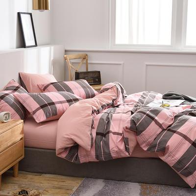 新款良品日式简约全棉色织水洗棉条纹格子纯棉被套床单四件套 床单款1.5m(5英尺)床 满天星粉