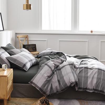 新款良品日式简约全棉色织水洗棉条纹格子纯棉被套床单四件套 床单款1.5m(5英尺)床 满天星灰