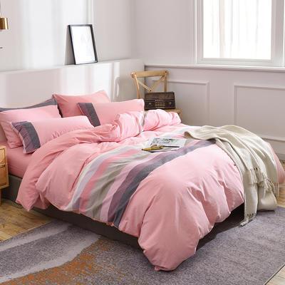 新款良品日式简约全棉色织水洗棉条纹格子纯棉被套床单四件套 床单款1.5m(5英尺)床 桐花粉