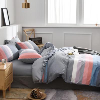 新款良品日式简约全棉色织水洗棉条纹格子纯棉被套床单四件套 床单款1.5m(5英尺)床 桐花蓝