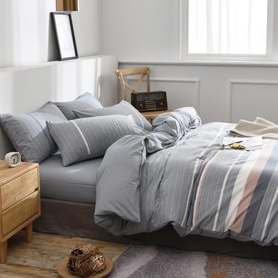 新款良品日式简约全棉色织水洗棉条纹格子纯棉被套床单四件套 床单款1.5m(5英尺)床 云枝绿灰