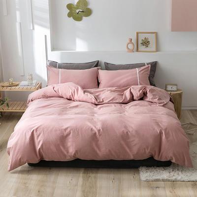 2020新款-全棉水洗棉简约纯色混搭单品被套床单纯棉四件套 床单款四件套1.5m(5英尺)床 简约粉
