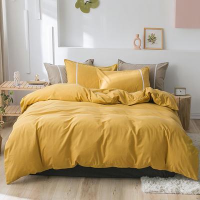 2020新款-全棉水洗棉简约纯色混搭单品被套床单纯棉四件套 床单款四件套1.5m(5英尺)床 简约黄