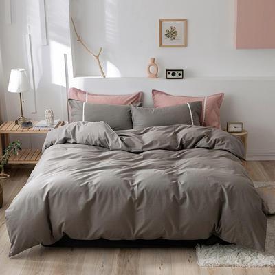 2020新款-全棉水洗棉简约纯色混搭单品被套床单纯棉四件套 床单款四件套1.5m(5英尺)床 简约灰