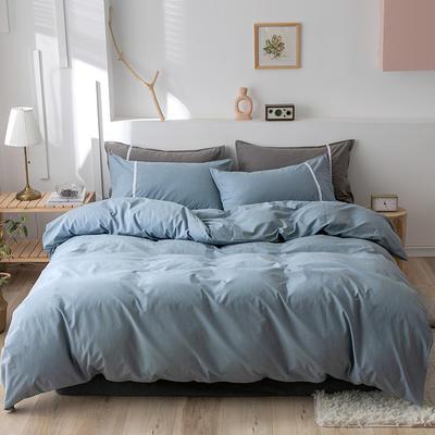 2020新款-全棉水洗棉简约纯色混搭单品被套床单纯棉四件套 床单款四件套1.5m(5英尺)床 简约蓝