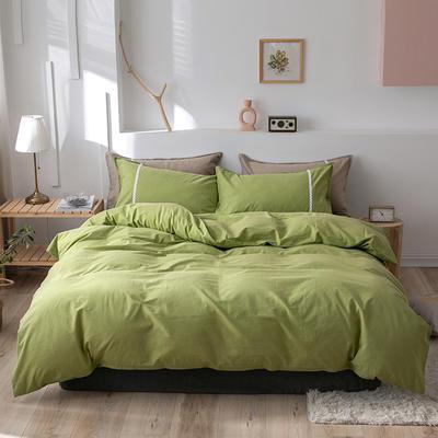 2020新款-全棉水洗棉简约纯色混搭单品被套床单纯棉四件套 床单款四件套1.5m(5英尺)床 简约绿