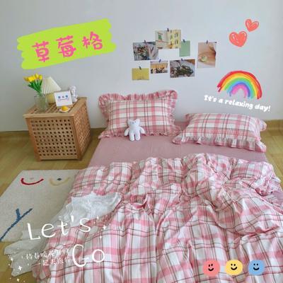 2020新品-全棉色织水洗棉ins风公主款荷叶边网红款纯棉四件套 床单款四件套1.5m(5英尺)床 草莓格