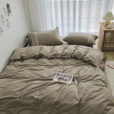 新款良品日式简约全棉色织水洗棉纯棉被套床单四件套纯色系列实拍图 床单款四件套1.5m(5英尺)床 简约咖