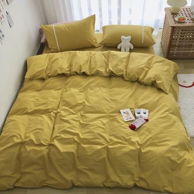 新款良品日式简约全棉色织水洗棉纯棉被套床单四件套纯色系列实拍图 床单款四件套1.5m(5英尺)床 简约黄