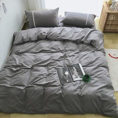 新款良品日式简约全棉色织水洗棉纯棉被套床单四件套纯色系列实拍图 床单款四件套1.5m(5英尺)床 简约灰