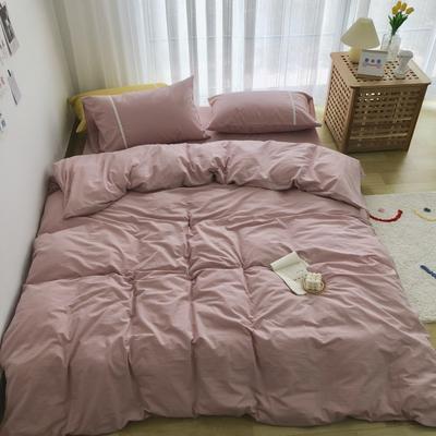 新款良品日式简约全棉色织水洗棉纯棉被套床单四件套纯色系列实拍图 床单款四件套1.5m(5英尺)床 简约粉