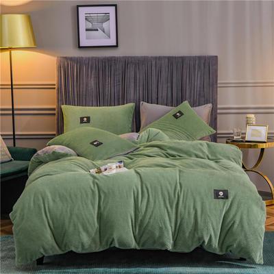 秋冬立体牛奶绒加厚贝贝绒纯色水晶绒被套床单床品保暖四件套 1.8m床单款四件套 风尚草绿