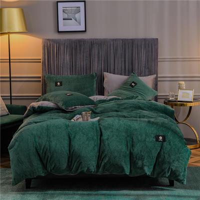 秋冬立体牛奶绒加厚贝贝绒纯色水晶绒被套床单床品保暖四件套 1.8m床单款四件套 风尚墨绿