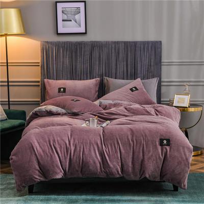 秋冬立体牛奶绒加厚贝贝绒纯色水晶绒被套床单床品保暖四件套 1.8m床单款四件套 风尚紫