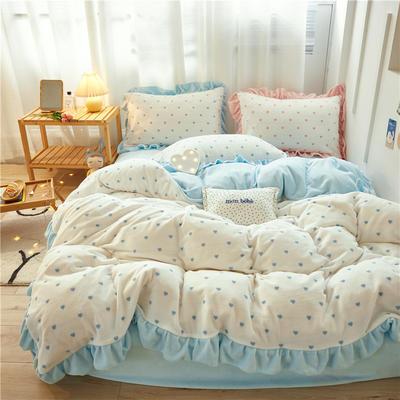 2020新款-秋冬新品韩版公主款牛奶绒水晶绒格子爱心荷叶边四件套 1.5m床单款四件套 爱心-蓝