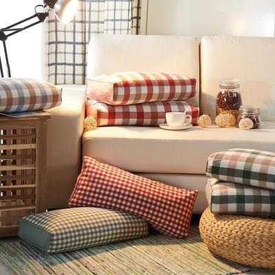 水洗立体枕 荞麦 24*52cm绿咖方格