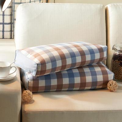 水洗立体枕 荞麦 24*52cm蓝咖方格